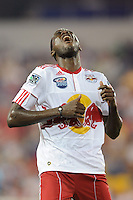 Tony Tchani (23) of the New York Red Bulls reacts to a missed scoring opportunity. The New York Red Bulls defeated the Houston Dynamo 2-1 during a Major League Soccer (MLS) match at Red Bull Arena in Harrison, NJ, on June 2, 2010.