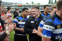 Shaun Knight of Bath Rugby is all smiles after the match. Aviva Premiership match, between Bath Rugby and Gloucester Rugby on April 30, 2017 at the Recreation Ground in Bath, England. Photo by: Patrick Khachfe / Onside Images