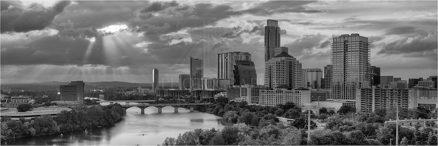 I was fortunate enough to be high up in a condo when the sun broke through the clouds over downtown Austin, Texas. This view of Lady Bird Lake and Austin with light streaming down was a rare and exciting opportunity!