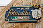 The famous Floridita Restaurant and Daiquiri bar that author Ernest Hemmingway frequented in central Havana,Cuba.