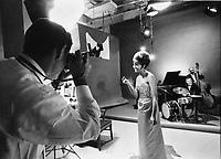 John G. Zimmerman photographs singer Leslie Uggams in New York studio, 1963.