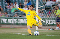 Jon Busch kicks the ball. The San Jose Earthquakes defeated Chivas USA 6-5 in shootout after drawing 0-0 in regulation time to win the inagural Sacramento Cup at Raley Field in Sacramento, California on June 12, 2010.