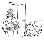 (A man bringing his wife breakfast in bed with a steaming cup of tea resting on a colander on top of his head)