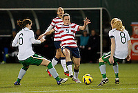 Heather O'Reilly passes the ball. USWNT played played a friendly against Ireland at JELD-WEN Field in Portland, Oregon on November 28, 2012.