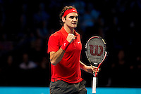 Roger Federer (SUI) (2) against David Ferrer (ESP) (7) in a Group B match. Roger Federer beat David Ferrer 6-1 6-4..International Tennis - Barclays ATP World Tour Finals - O2 Arena - London - Day 1 - Sun 21 Nov 2010..© Frey - AMN Images, Level 1, Barry House, 20-22 Worple Road, London, SW19 4DH.Tel - +44 208 947 0100.Email - Mfrey@advantagemedianet.com.Web - www.amnimages.photshelter.com