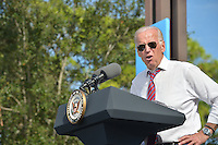 PALM BEACH GARDENS, FL - NOVEMBER 02: Vice President Joe Biden speak to supporters during a public campaign rally for 'Get Out The Early Vote' for Democratic presidential nominee Hillary Clinton at Palm Beach State College-Amphitheater (Center of Campus) on November 2, 2016 in Palm Beach Gardens, Florida. Vice President Biden will urge Floridians to take advantage of early voting right away with six day left for election.Credit: MPI10 / MediaPunch
