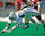 23 March 2008: University of Vermont Catamounts' Andrew Kelleher, a Junior from Delmar, NY, takes a tumble during a game against the Bellarmine University Knights at Moulton Winder Field, in Burlington, Vermont. The Catamounts defeated the visiting Knights 9-7 at the Vermont home opener...Mandatory Photo Credit: Ed Wolfstein Photo
