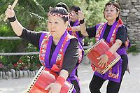 Okinawan dancers perform during the grand re-opening of the Jingu House, Saturday, Oct. 22, 2011, at the Japanese Tea Garden in San Antonio, Texas, USA. (Darren Abate/pressphotointl.com)