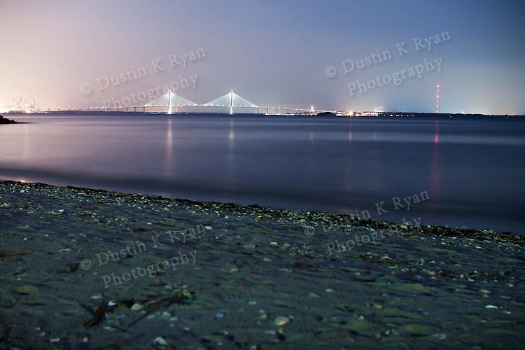 The Arthur Ravenel Jr Bridge over the Cooper River in Charleston South Carolina at night