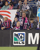 New England Revolution head coach Steve Nicol communicates with his team. Steve Nicol decked out in Breast Cancer Awareness scarf. Real Salt Lake defeated the New England Revolution, 2-1, at Gillette Stadium on October 2, 2010.
