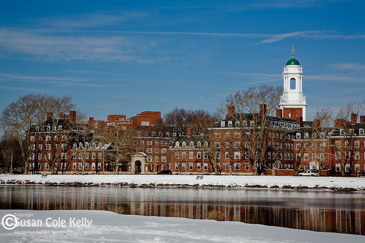 The green-tipped cupola of Eliot House in winter, Harvard University, Cambridge, MA, USA