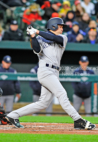 New York Yankees center fielder Jacoby Ellsbury (22) strikes out in the first inning against the Baltimore Orioles at Oriole Park at Camden Yards in Baltimore, MD on Friday, April 7, 2017.<br /> Credit: Ron Sachs / CNP<br /> (RESTRICTION: NO New York or New Jersey Newspapers or newspapers within a 75 mile radius of New York City)
