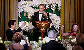 United States President Barack Obama, center, offers a toast during a state dinner honoring Prime Minister Justin Trudeau of Canada, left, and his wife Mrs. Sophie Gr&eacute;goire Trudeau, right, at the White House March 10, 2016 in Washington, DC. <br /> Credit: Olivier Douliery / Pool via CNP