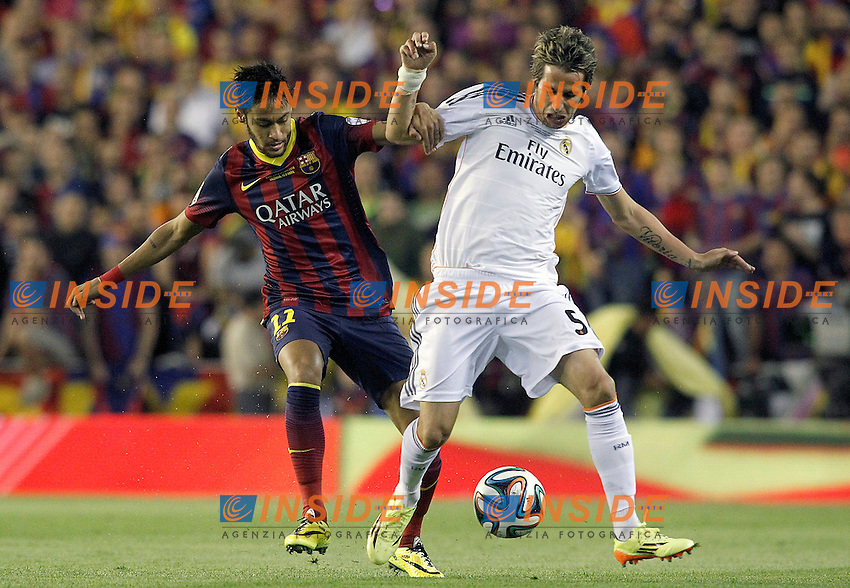 FC Barcelona's Neymar Santos Jr (l) and Real Madrid's Fabio Coentrao during spanish KIng's Cup Final match.April 16,2014. (ALTERPHOTOS/Acero) <br /> Finale Coppa del Re<br /> Real Madrid Barcellona <br /> Foto Insidefoto