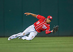 23 July 2016: Washington Nationals outfielder Ben Revere pulls in a shallow fly ball in the 6th inning against the San Diego Padres at Nationals Park in Washington, DC. The Nationals defeated the Padres 3-2 to tie their series at one game apiece. Mandatory Credit: Ed Wolfstein Photo *** RAW (NEF) Image File Available ***