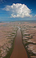Aerial of tidal mud flats just outside town of Wyndhamshown in a vertical picture of the river running to the Cambridge Gulf.
