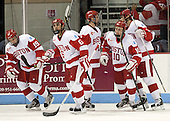 Matt Nieto (BU - 19), Alexx Privitera (BU - 6), Evan Rodrigues (BU - 17), Danny O'Regan (BU - 10), Ahti Oksanen (BU - 3) - The visiting Northeastern University Huskies defeated the Boston University Terriers 6-5 on Friday, January 18, 2013, at Agganis Arena in Boston, Massachusetts.