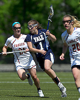 Yale University attacker Caroline Crow (1) attacks as Boston College midfielder Kristin Igoe (21) defends. Boston College defeated Yale University, 16-5, at Newton Campus Field, April 28, 2012.