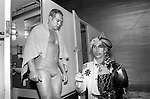 Andrew Logan dressed as half man half woman. He organised the Alternative Miss World competition Olympia 1981