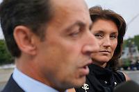 France, Paris. Ceremonies du 14 juillet sur les Champs Elysees. Nicolas Sarkozy, ministre de l'Interieur et son epouse Cecilia Sarkozy. Vendredi 14 juillet 2006 - ©Jean-Claude Coutausse / french-politics