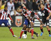 D.C. United forward Maicon Santos (29) goes against Chivas USA defender John Valencia (5) D.C. United defeated Chivas USA 1-0 at RFK Stadium, Sunday September 23, 2012.