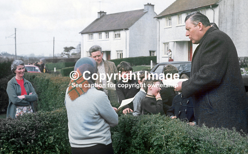 Rev Ian Paisley canvassing as the Protestant Unionist candidate in the Bannside, Co Antrim, constituency by-election of 16th April 1970 caused by the resignation of Terence O'Neill, the sitting MP. He had resigned the previous year as N Ireland's Prime Minister being succeeded by Major James Chichester-Clark. 197004000113b<br /> <br /> Copyright Image from Victor Patterson,<br /> 54 Dorchester Park, Belfast, UK, BT9 6RJ<br /> <br /> t1: +44 28 90661296<br /> t2: +44 28 90022446<br /> m: +44 7802 353836<br /> <br /> e1: victorpatterson@me.com<br /> e2: victorpatterson@gmail.com<br /> <br /> For my Terms and Conditions of Use go to<br /> www.victorpatterson.com