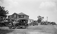Western PA:  The Stewart's 1929 Chevy Coach and other cars stopped for gas at Bud Myers Gulf on Route 30 - 1931