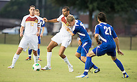 Winthrop University Eagles vs the Brevard College Tornados at Eagle's Field in Rock Hill, SC.  The Eagles beat the Tornados 6-0.  Achille Obougou (7) fights for the ball against Alec Goetti (15).