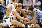 06 February 2012: North Carolina's Shannon Smith (right) fights for a loose ball with Duke's Kathleen Scheer (left) and Jenna Frush (behind, left). The Duke University Blue Devils defeated the University of North Carolina Tar Heels 96-56 at Cameron Indoor Stadium in Durham, North Carolina in an NCAA Division I Women's basketball game.