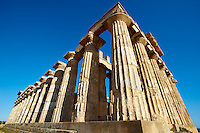 Greek Dorik Temple ruins of Temple F at Selinunte, Sicily photography, pictures, photos, images & fotos.