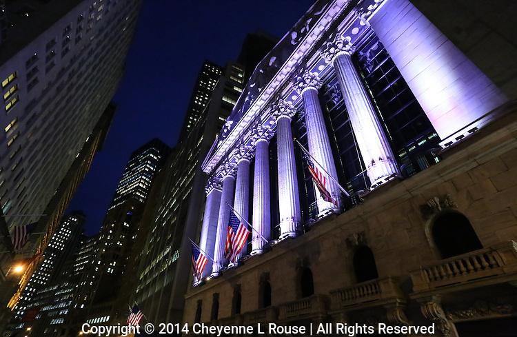 Wall Street at night - Manhattan, New York City