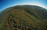 Aerial View: Wide expanse of Shenandoah Mountains, Virginia (part of the Appalachian chain). National Park Land & Skyline Drive (road in lower right) are in this view Looking South East along the mountain ridge October 2000.