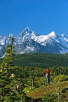 Hiking the shores along Port Wells, Chugach mountains, Prince William Sound, Alaska