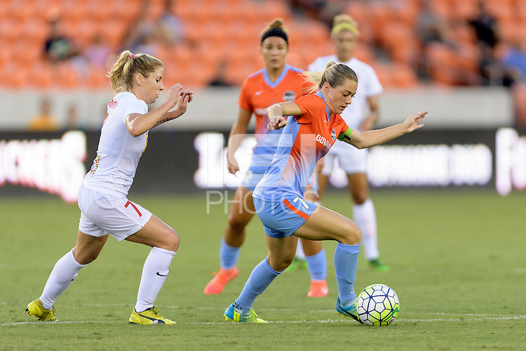 Houston, TX - Saturday July 30, 2016: McCall Zerboni, Kealia Ohai during a regular season National Women's Soccer League (NWSL) match between the Houston Dash and the Western New York Flash at BBVA Compass Stadium.