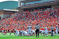 PK Brad Craddock of the Terrapins tries a field goal.  Maryland defeated Richmond 50-21 during home season opener at the Byrd Stadium in College Park, MD on Saturday, September 5, 2015.  Alan P. Santos/DC Sports Box