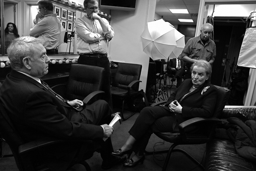 Journalist Dan Rather interviews former Sec. of State Madeleine Albright before an audience at the 92nd Street Y in New York on Wed. Jan. 7, 2009.