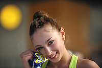Daria Kondakova of Russia smiles for portrait during training at 2011 Holon Grand Prix at Holon, Israel on March 3, 2011.  (Photo by Tom Theobald).Photo id:  299kondakova-holon20110303rus300