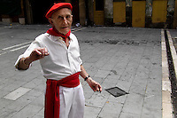 An old Spanish man during the San Fermín festival in Pamplona, Spain, 6 July 2005.