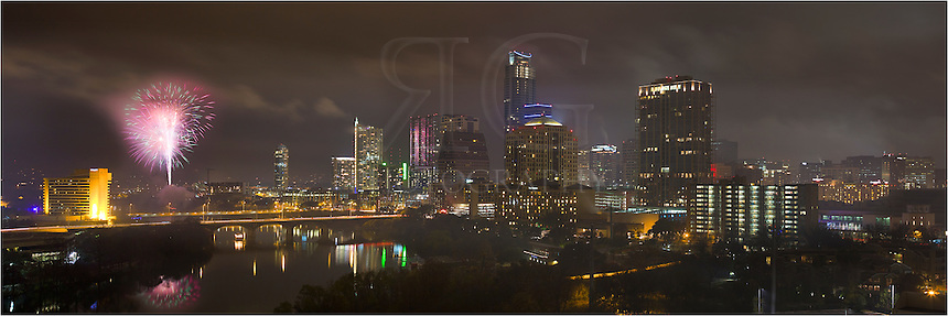 Life in downtown Austin offers some wonderful opportunities throughout the year. This panorama shot from the Milago shows what residents see on New Year's Eve - fireworks over downtown Austin and Lady Bird Lake. In the distance you can see the Congress Bridge and First Street Bridge that connect Zilker Park with the downtown area.