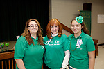 Waterbury, CT- 09 March 2017-030917CM03- SOCIAL MOMENTS From left, CJ Pereira, 15, Sandy McDonald Olivia Pereira, 12 all committee members are photographed during a Survivor Social event for Relay for Life at Holy Cross High School in Waterbury on Thursday.   Christopher Massa Republican-American