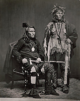 Chief Crane, Potawatomi Indian chief, holding a tomahawk, and an unidentified Native American man, in delegation to Washington DC in 1855 and 1865, photograph, in the Anasazi Heritage Center, an archaeological museum of Native American pueblo and hunter-gatherer cultures, Dolores, Colorado, USA. Picture by Manuel Cohen