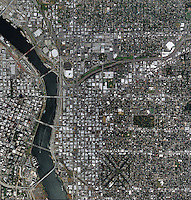 aerial map above Portland Oregon