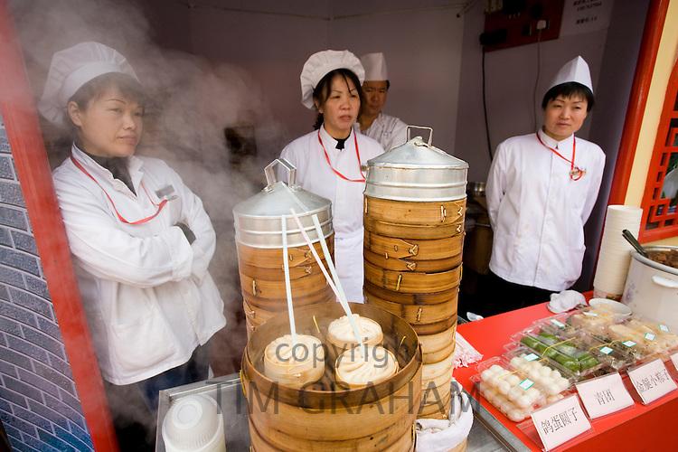 Soup dumplings stall in the Yu Garden Bazaar Market, Shanghai, China