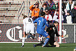 27 November 2010: Nicole Barnhart (USA) (18) knocks the ball away from Domenichetti Giulia (ITA) (7) as Rachel Buehler (USA) (4) trails the play. The United States Women's National Team defeated the Italy Women's National Team 1-0 in the second leg of their 2011 FIFA Women's World Cup Qualifier playoff at Toyota Park in Bridgeview, Illinois. The U.S. won the series 2-0 on aggregate goals to advance.