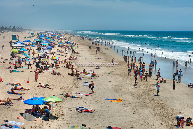 Huntington Beach Ca Ocean Waves People Beach Swimming