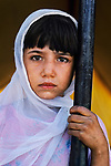 PAKISTAN-10021, Peshawar, Pakistan, 1984. Young  Girl with White Scarf.<br />