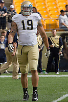 Notre Dame defensive lineman Aaron Lynch. The Notre Dame Fighting Irish defeated the Pitt Panthers 15-12 at Heinz field in Pittsburgh, Pennsylvania on September 24, 2011.