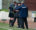 St Johnstone v Rangers...14.01.12  .Steve Lomas and Ally McCoisty get a talking too by ref Craig Thomson.Picture by Graeme Hart..Copyright Perthshire Picture Agency.Tel: 01738 623350  Mobile: 07990 594431