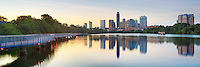 The Boardwalk along Lady Bird Lake runs for about a half-mile on each side of I-35. From the west side, you have nice views of the downtown Austin, Texas, skyline, as seen in this panorama from a warm July evening.