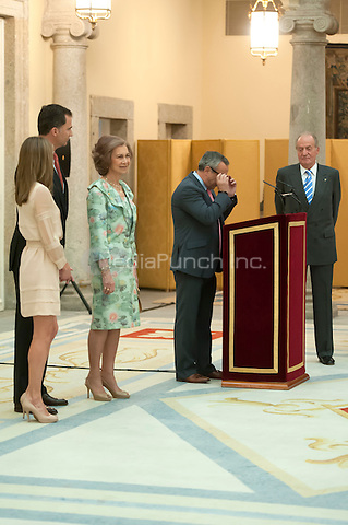 MADRID, SPAIN - July 23, 2012: King and Queen of Spain and their Royal Highnesses the Princes of Asturias at the royal palace before the Spanish Olympic team participates at the London 2012 Olympic Games. July 23, 2012. Credit : ALTERPHOTOS/Ricky Blanco/NortePhoto/MediaPunch Inc. ***FOR USA ONLY***